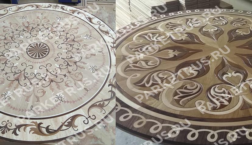 Производство художественного паркета. Художественная розетка с использованием карельской березы.